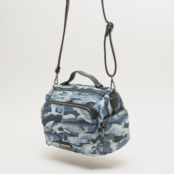 Lee Cooper Printed Crossbody Bag with Zip Closure