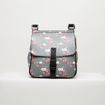 a91818404c0b Missy Floral Printed Satchel Bag with Buckle Closure