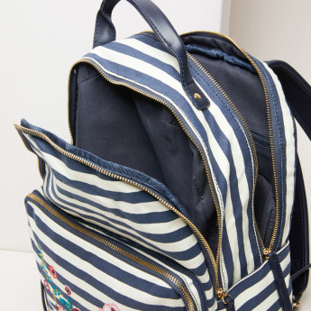 Missy Striped Backpack with Zip Closure and Embroidery