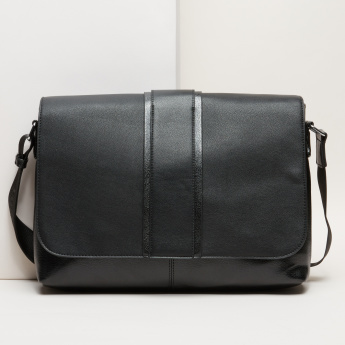 Duchini Textured Portfolio Bag with Flap and Adjustable Strap