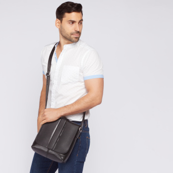 Duchini Messenger Bag with Flap and Adjustable Strap