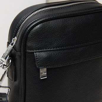 Duchini Textured Portfolio Bag with Zip Closure and  Detachable Strap