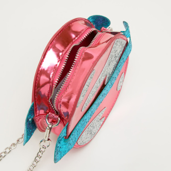 Little Missy Glitter Detail Crossbody Bag with Zip Closure