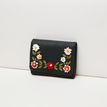 Missy Applique Detail Tri-Fold Wallet with Press Button Closure
