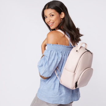 Missy Textured Backpack with Zip Closure