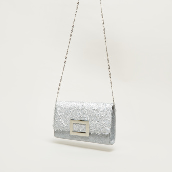 Celeste Sequin Detail Wallet with Metallic Chain