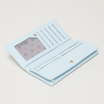 Missy Textured Wallet with Press Button Closure and Flower Applique
