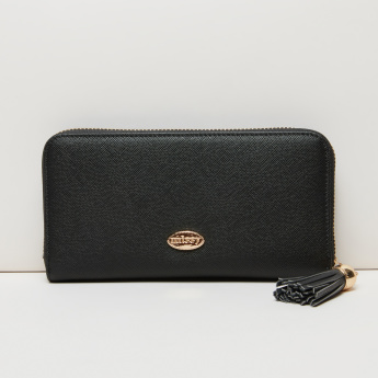 Missy Textured Wallet with Zip Closure and Applique Detail
