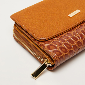 Paprika Textured Tri-Fold Wallet with Press Button Closure