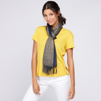 Celeste Textured Scarf with Tassels