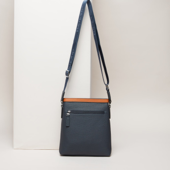 Duchini Textured Messenger Bag with Contrast Strap Detail