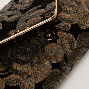 Celeste Sequin Detail Clutch with Magnetic Snap Closure