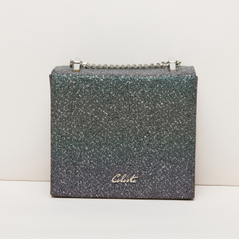Celeste Textured Sling Bag with Metallic Chain
