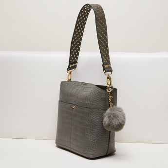 Elle Textured Handbag with Pom-Pom Detail and Pouch  ffa81f33e82ab