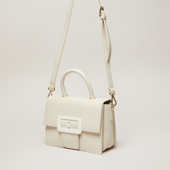 Elle Textured Satchel Bag with Long Adjustable Strap