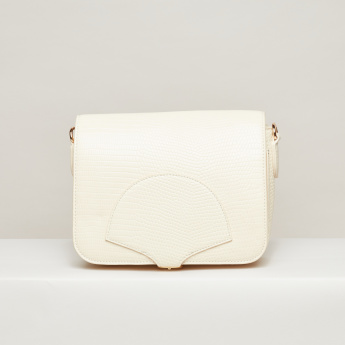 Elle Textured Satchel Bag with Pin Buckle Closure