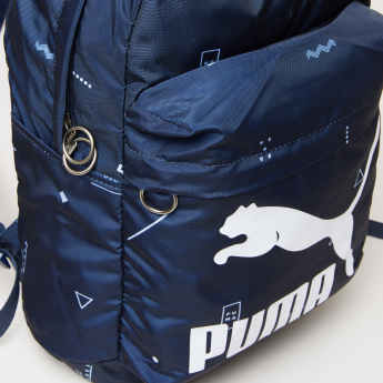 PUMA Printed Backpack with Zip Closure and Adjustable Straps