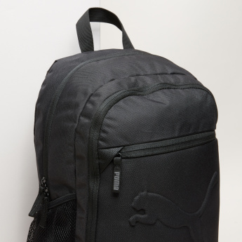PUMA Embossed Backpack with Zip Closure and Adjustable Straps