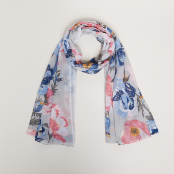 Celeste Scarf with Floral Print Detail