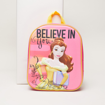 Beauty and the Beast Printed Backpack with Zip Closure