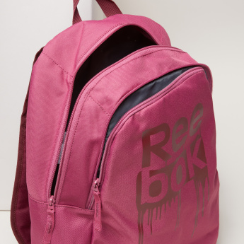 Reebok Printed Backpack with Zip Closure