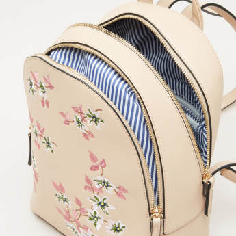 Missy Floral Embroidered Backpack with Multiple Compartments