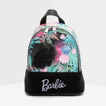 Barbie Printed Bag with Zip Closure and Pom-Pom Detail