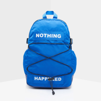 Text Printed Backpack with Zip Closure