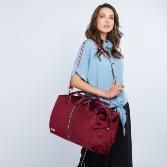 Paprika Textured Duffel Bag with Zip Detail