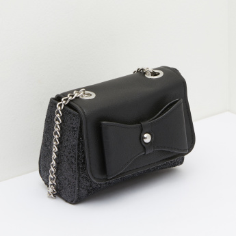 Split Leather Textured Handbag with Bow Applique