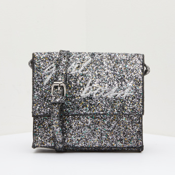 Glitter Crossbody Bag with Magnetic Snap Closure