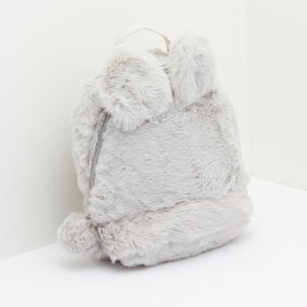 Plush Backpack with Zip Closure and Applique Detail