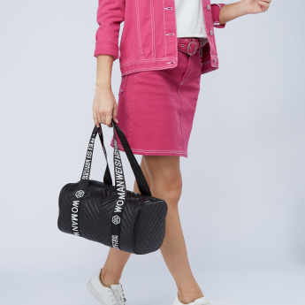 Missy Quilted Bowler Bag with Printed Strap