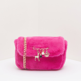 Missy Plush Satchel Bag with Metallic Charms