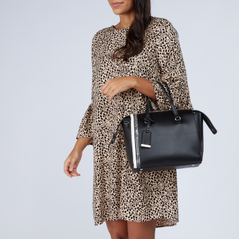 Celeste Bowler Bag with Snake Print Detail and Zip Closure