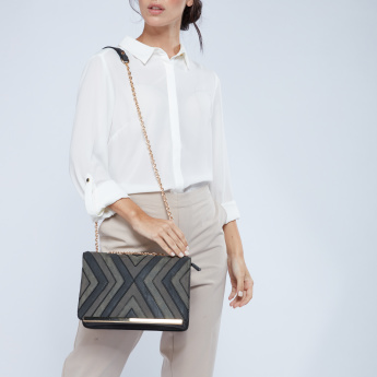 Celeste Satchel Bag with Patchwork Detail