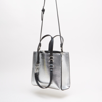 ELLE Textured Tote Bag with Shoulder Strap