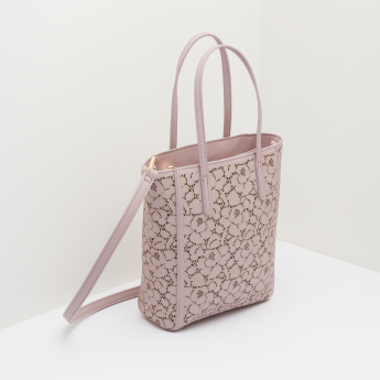 Missy Laser Cut Detail Tote Bag with Zip Closure
