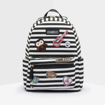 Missy Striped Backpack with Patchwork