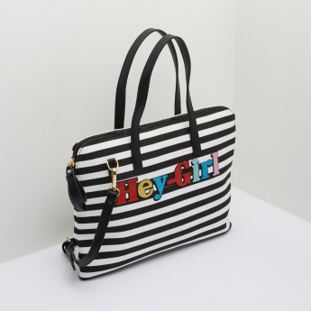 Missy Striped Laptop Bag with Long Detachable Strap