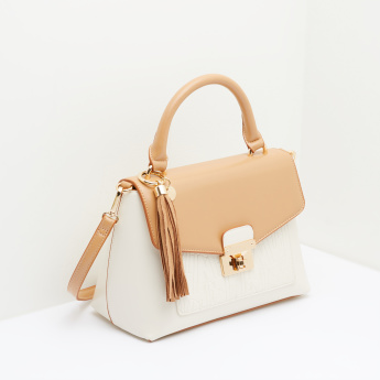 ELLE Embossed Satchel Bag with Twist Lock