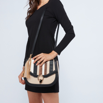 ELLE Striped Satchel Bag with Tassel Detail
