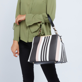 ELLE Striped Tote Bag with Detachable Strap