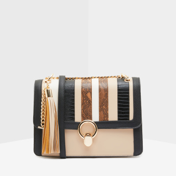 ELLE Striped Satchel Bag with Metallic Chain