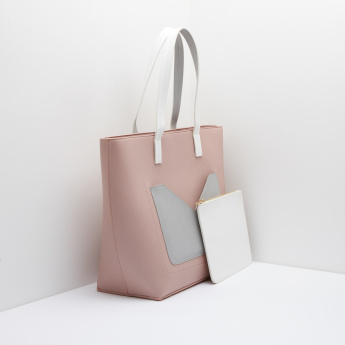 Pocket Detail Shopper Bag with Pouch