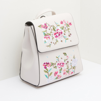 Missy Embroidered Backpack with Magnetic Snap Closure