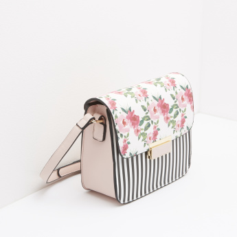 Missy Floral Printed Crossbody Bag with Stripes