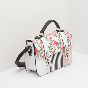 Missy Satchel Bag with Floral Printed Flap and Stripes