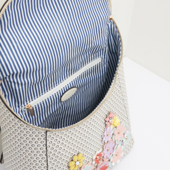 Missy Printed Backpack with Applique Detail and Zip Closure