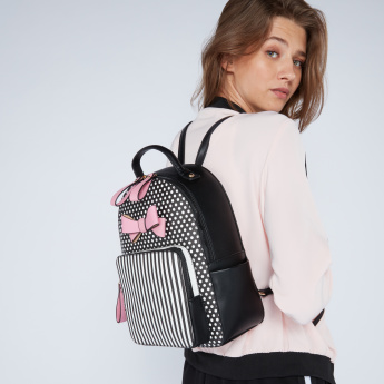 Missy Polka Dot Printed Backpack with Zip Closure and Bow Detail